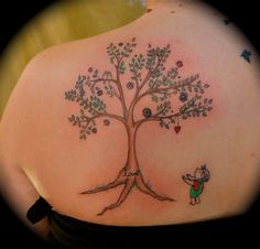 "Done by:  Dina Verplank  Voluta Tattoo  Indianapolis, IN  ""Giving Tree"""