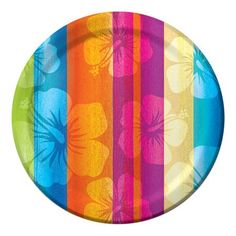"Warm Weave Tropical Pink Orange Summer Luau Beach Pool Party 7/"" Dessert Plates"
