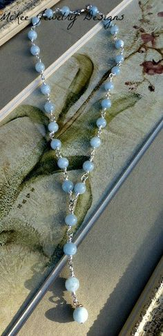 Aquamarine gemstone and silver Y necklace. blue gemstone and silver metal. handmade jewelry, jewellery, McKee Jewelry, McKee Jewelry Designs