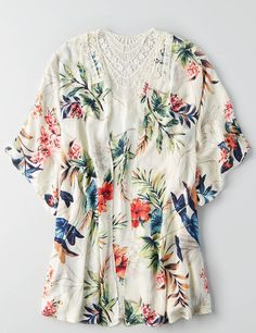 AEO Floral Poncho in Coconut color...this is pretty, would be nice with some cut off shorts, a tank top and some espadrilles