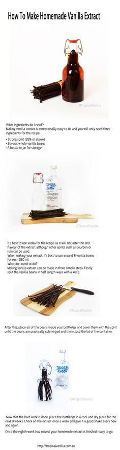 How To Make Homemade Vanilla Extract http://tropicalvanilla.com.au/blogs/news/14730205-how-to-make-homemade-vanilla-extract