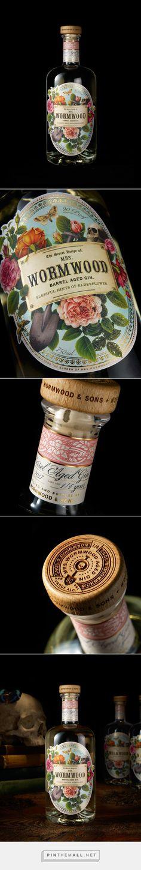 Mrs. Wormwood gin packaging design by Chad Michael Studio - http://www.packagingoftheworld.com/2017/10/mrs-wormwood.html