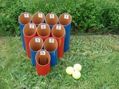 10 Off-Grid Backyard Games for Your Family - Mom with a Prep. Pictured: Skee-Ball type game using PVC pipes cut and banded together. Home Made Games, Outside Games, Golf Ball Crafts, Skee Ball, Garden Games, Backyard Games For Kids, Backyard Party Games, Fun Backyard, Pvc Projects