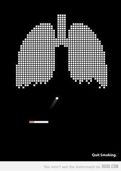내 주위 흡연자 친구들에게 꼭 보여주고 싶은 포스터다. 옛날에 자주했던 블럭깨기 게임에 폐와 담배를 넣어 의미전달을 확실히한것 같다.