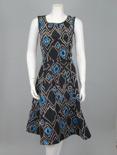 OSCAR DE LA RENTA New Navy Blue Sequin Embroidered Pattern Flare Dress   Socialite Auctions