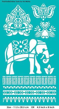 """Stencil Plantillas Plantillas """"elefante, Lotus, Tailandia"""", auto-adhesiva, flexible, para la arcilla de polímero, tela, madera, vidrio, fabricación de la tarjeta"""