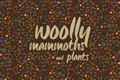 Cartoon set with woolly mammoths and plants