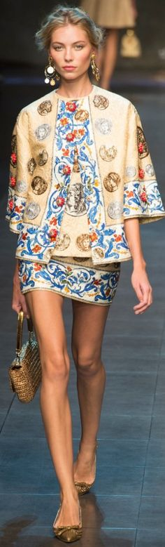 Dolce and Gabbana ~ Spring Floral Trim Mini w Jacket 2013