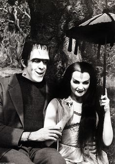 Fred Gwynne and Yvonne De Carlo as Herman and Lily Munster. Okay, The Munsters was a 1960s tv show. But I watched its reruns as a teen in the mid-80s!