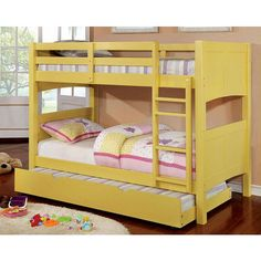 Daisy Mae Yellow Twin over Twin Bunk Bed ❤ liked on Polyvore featuring home, children's room and children's furniture