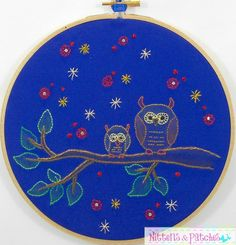 Mummy Owl & Her Baby   mommy Hand Embroidered by NittensAndPatches, $38.00