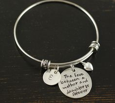 Items Similar To Personalized Bangle Bracelet Mother Daughter Silver Charm Name On Etsy Alex And Annie