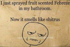 A little potty humor! :)...I just sprayed fruit scented Febreze in my bathroom. Now it smells like shitrus.