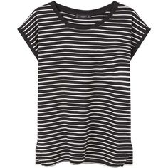 Striped Cotton T-Shirt (€4,68) ❤ liked on Polyvore featuring tops, t-shirts, shirts, tees, blusas, short sleeve tee, t shirt, side slit t shirt, striped tee and short-sleeve shirt