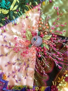 This CraZy Quilting is sew. Silk Ribbon Embroidery, Beaded Embroidery, Embroidery Stitches, Embroidery Patterns, Hand Embroidery, Quilt Patterns, Block Patterns, Crazy Quilting, Crazy Quilt Stitches