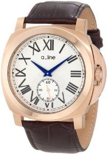 a_line Women's 80007-RG-02-BR Pyar Silver Textured Dial Brown Leather Watch
