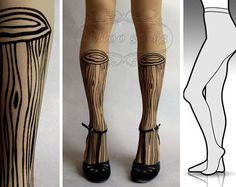 Touche du bois!   Wooden Legs tights / stockings/ full length / pantyhose /  Etsy