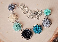 Handmade Flower Bib Necklace Teal Black Rose by GnidGnadDesigns