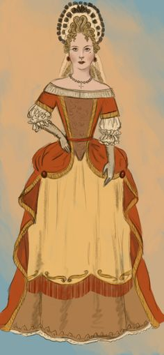 """1680 .:3:. by Tadarida.deviantart.com on @deviantART - From the artist's comments: """"She's wearing an evening dress, with broad, off-the-shoulders neckline. It was not fashionable anymore, except for court. The mantua is pinned over a decorated petticoat. She's also wearing a headdress made of wired lace and ribbons, called fontange."""""""