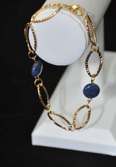 Lapis Stone and Gold Loop Bracelet $10.95