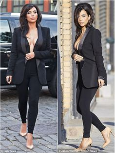 2014-06-16 Kim Kardashian wearing Saint Laurent Satin-trimmed Tuxedo Jacket, going dinner in NYC