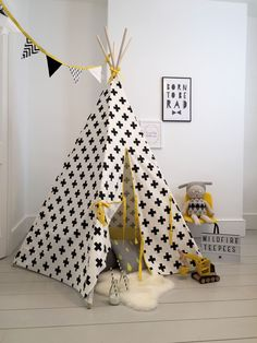 Children's Play Monochrome Teepee Stripe with Yellow | Diddle Tinkers