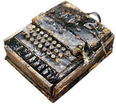 Enigma coding machine found in a sunken German submarine. Enigma Machine, Royal Navy Submarine, North Carolina History, Bletchley Park, Alan Turing, German Submarines, Military Equipment, Yesterday And Today, World War Ii