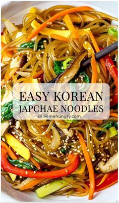 A simple, easy recipe for Japchae, also known as Korean glass noodles with stir fried vegetables. It's made with sweet potato starch noodles, colorful vegetables and tossed in a savory sauce! #japchae #Koreannoodles #glassnoodles #drivemehungry | drivemehungry.com Easy Asian Recipes, Vegan Recipes Easy, Real Food Recipes, Vegetarian Recipes, Korean Recipes, Chinese Recipes, Cooking Recipes, Ethnic Recipes, Fried Vegetables