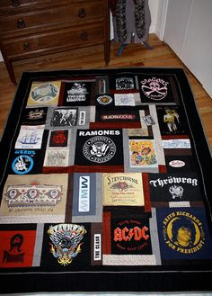Concert tshirt quilt - What a cool idea. Now you don't have to thrown out all those great concert shirts when they get worn out...or too small...