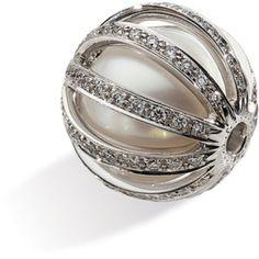 18K White Gold Paspaley South Sea Cultured Pearl & Diamond Ball Clasp Pendant