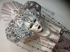 Beaded Rhinestone Goddess masked silver Fantasy headdress headpeice wig
