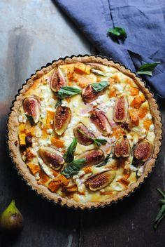 Gluten free pumpkin, basil, goats cheese and fig tart — George Eats