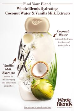 Whole Blends Hydrating with Coconut Water and Vanilla Milk Extracts - Whole Blends, Honey Packaging, Vanilla Milk, Hydrate Hair, Creative Poster Design, Cosmetic Design, Black Hair Care, Blended Learning, Branding