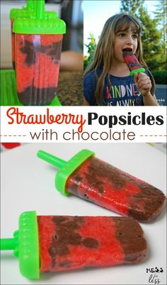 These Strawberry Popsicles with Chocolate are the perfect way to cool off this summer. Easy recipe that kids love! #ad #WetOnesSummerFun #WishIHadaWetOnes