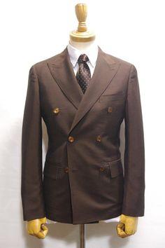 AJ15-6B ブラウン6釦ダブルブレステッドスーツ・・