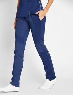 The Moto Contrast Pant in Estate Navy Blue is a contemporary addition to women's medical scrub outfits. Shop Jaanuu for scrubs, lab coats and other medical apparel.