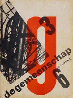 "By Paul Schuitema, 1 9 3 0, front cover design for the magazine ""de gemeenschap"". (Dutch)"