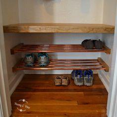 mini mudroom copper shoe rack