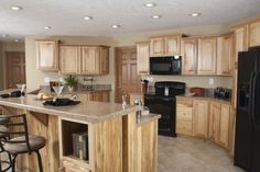 Commdore Homes of Indiana -Mulberry - Grandville LE Modular Ranch - Hickory Cabinet Kitchen Add vaulted ceilings Hickory Kitchen Cabinets, Kitchen Cabinet Colors, Modular Home Plans, Modular Homes, Remodeling Mobile Homes, Home Remodeling, Clayton Homes, Finding A House, Kitchen Design