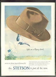 STETSON Hats 1953 IMPERIAL BANTOM Mode Edge AD advertisement Stetson Hats c8c653be473