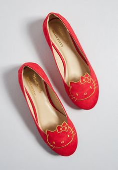 285114720 ModCloth for Hello Kitty Amble Companion Ballet Flat Red Modcloth, Ballet  Flats, Monitor,