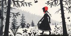 "Czech illustrator Divica Landrová's 1959 interpretation of ""Little Red Riding Hood."""
