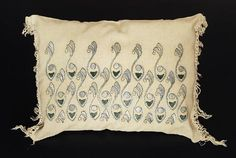"""264.Arts & Crafts pillow, unknown maker and number, ca. 1908- 1913, green, gray and black floss on oatmeal linen fabric, satin stitch and couching, paisley motif, 20"""" x 15"""", excellent condition 350-550"""