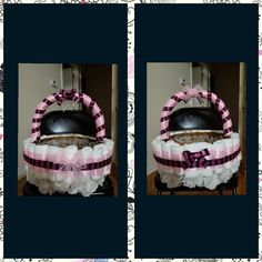 Pink and black diaper basket with layers of roses...Awaiting to be filled with goodies!