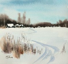 Watercolor painting «Winterscape» by Ekaterina Gubina
