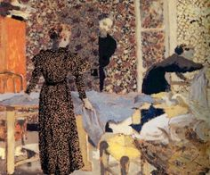 "artist-vuillard: ""Interior of the work-table, Edouard Vuillard "" Pierre Bonnard, Edouard Vuillard, Paul Gauguin, Felix Vallotton, Maurice Denis, Impressionist Artists, Post Impressionism, Art Database, Oil Painting Reproductions"