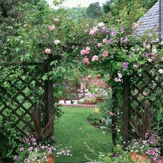 Enchanting Rose arch In the garden wood
