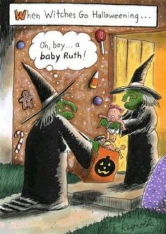 witch humor Funny Halloween Cartoons For A Crazy Laughing Halloween Cartoons, Fröhliches Halloween, Halloween Goodies, Halloween Pictures, Holidays Halloween, Vintage Halloween, Halloween Decorations, Funny Halloween Memes, Victorian Halloween