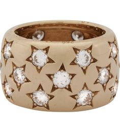 18K Gold Vintage Cartier Star Ring With Diamonds