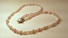 Pink Beaded NecklaceWhite and Baby Pink Glass by B4Jjewelrydesigns